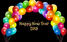 Bunte Luftballons, Happy New Year 2015 HD Hintergrundbilder