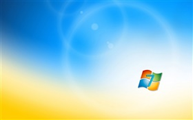 Windows 7-Logo, blaue orange Hintergrund HD Hintergrundbilder