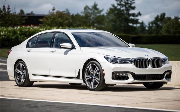 2015 BMW M7 7er XDrive G11 Weissen Auto Hintergrundbilder Bilder