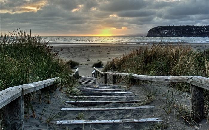 Christchurch Video Hd: Sonnenaufgang, Treppen, Küste, Süderstade, Christchurch