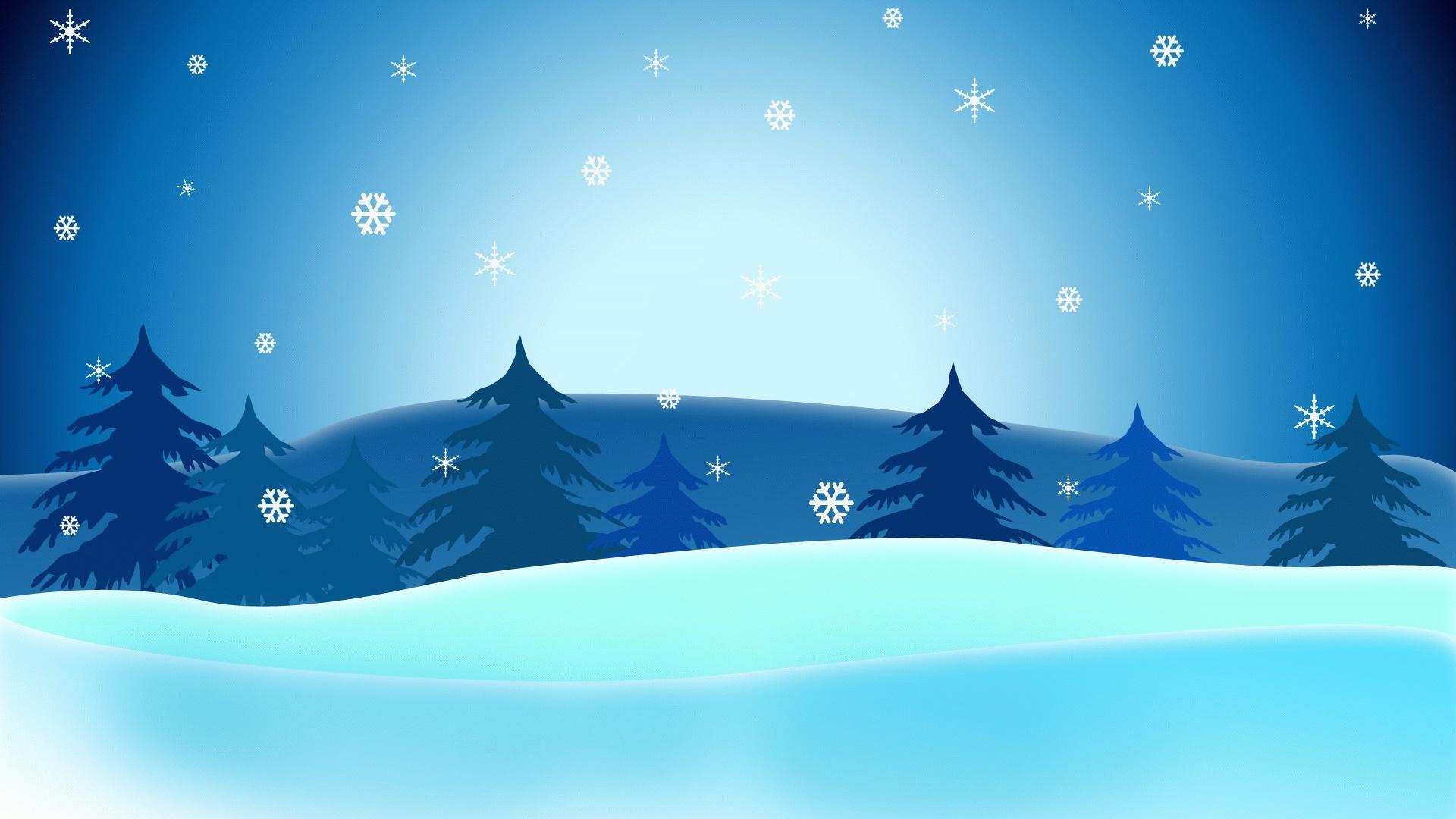 Weihnachtsbilder Als Hintergrund.Vector Weihnachtsbilder Bäume Schneeflocken Blauer Himmel Desktop