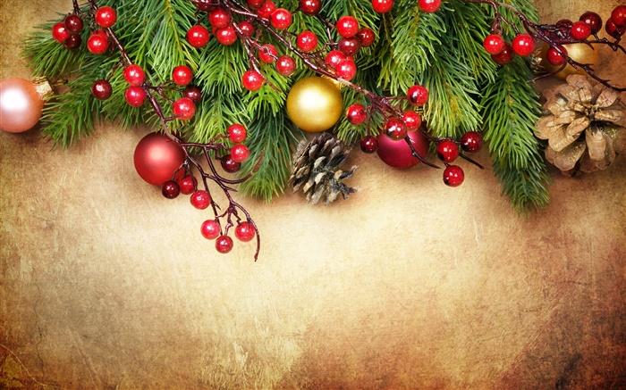Hintergrundbilder Frohe Weihnachten.Frohe Weihnachten Dekoration Tannenzweigen Beeren Kugeln