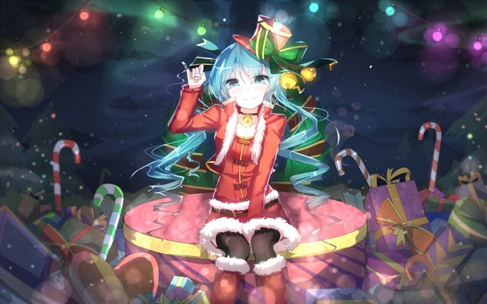 Anime Weihnachten Bilder.Hatsune Miku Weihnachten Anime Mädchen Hut Lächeln Geschenke Hd