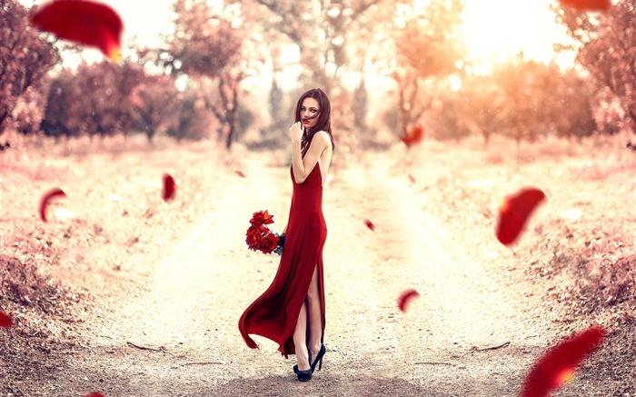 Rotes Kleid Mädchen Rosenblätter Sonne Hd Hintergrundbilder