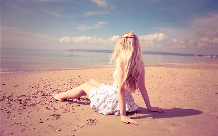 Mädchen Ruhe Am Strand Sonne Sommer Hd Hintergrundbilder Mädchen