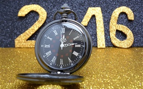 2016 Happy New Year, Golden Glitter, Uhr HD Hintergrundbilder
