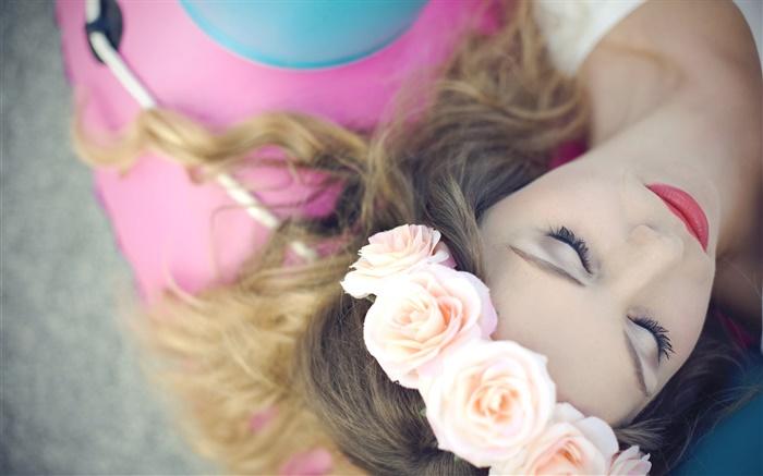 Mädchen Schlafen Blumen Rosen Kranz Hd Hintergrundbilder