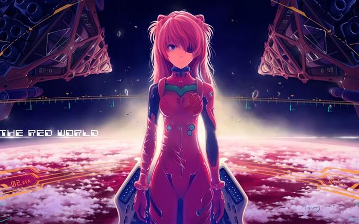 neon genesis evangelion  asuka langley  rotes kleid anime girl hd hintergrundbilder