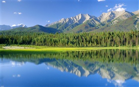 Dog Lake, Berge, Wald, Kootenay National Park, British Columbia, Kanada HD Hintergrundbilder
