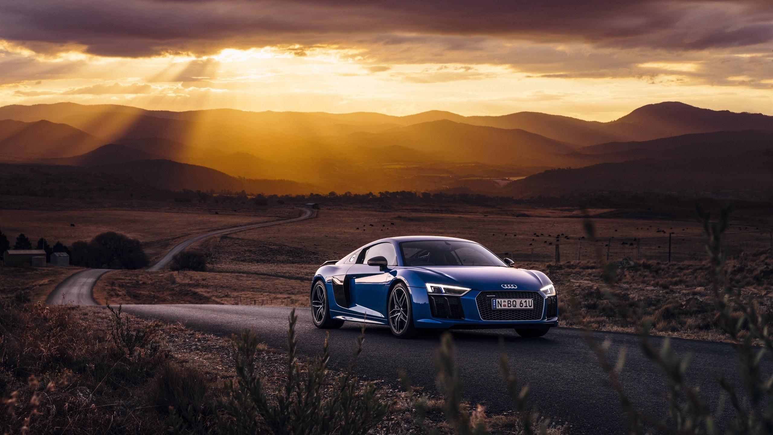 Audi R8 V10 Blaues Auto Sonnenuntergang Wolken Desktop Hintergrund