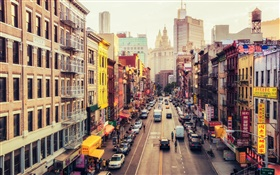 Manhattan, Amerika, New York, East Broadway, Chinatown, Straße, Autos HD Hintergrundbilder