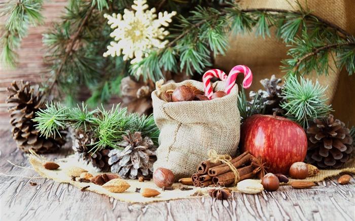 Hintergrundbilder Frohe Weihnachten.Frohe Weihnachten Tasche Sussigkeiten Apfel Nusse Hd