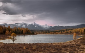 Altai, See, Bäume, Berge, Herbst